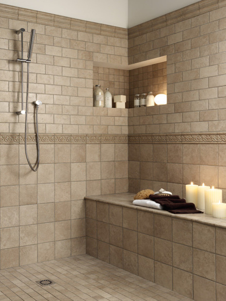 Bathroom tile patterns country home design ideas for Small bathroom tiles design