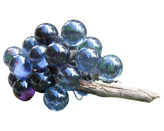 Blue Glass Grape Cluster - 1950's lucite grape cluster in midnight blue attached to driftwood. The perfect accent to any well-appointed home.