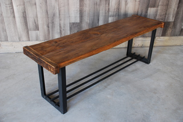 Reclaimed Wood Iron Bench