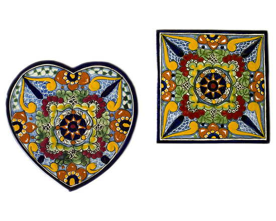 Native Trails - Talavera Heart and Square Trivets Set, Geraniums - Add color and warmth to your kitchen with our Talavera Heart and Square Trivet Set in Geraniums. This two-piece set includes one heart shaped trivet and one square trivet, for a delightful blend of shapes. Inspired by outdoor gardens, this ancient design provides the setting for this bold combination of royal blue with earthy greens and sunny yellows. Each trivet is handmade using clays and minerals local to the artisans, intricately hand painted, and then twice fired to bring out the striking colors and create a durable finish.