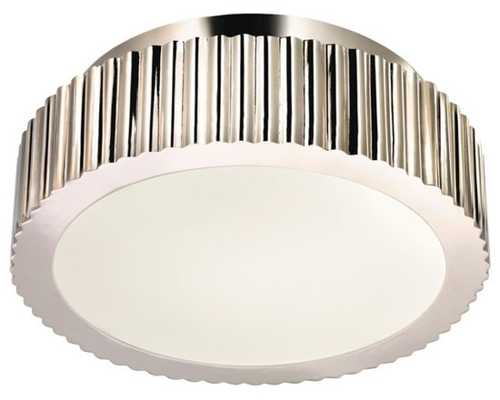 """Sonneman - Sonneman Paramount 12 1/2"""" Wide Nickel Ceiling Light - A modern classic flushmount ceiling light just over a foot wide and surrounded by ribbed and smooth metal in polished nickel finish this design will inspire your home decor. With hints of Art Deco and Art Moderne influences it is sure to become a welcome part of your living space for years. A pure white diffuser ensures even soft lighting. This sophisticated ceiling fixture is from Sonneman. Metal construction. Polished nickel finish. White diffuser. Takes two 60 watt candelabra bulbs (not included). 12 1/2"""" wide. 5 1/2"""" high. Canopy is 9 1/2"""" wide.  Metal construction.   Polished nickel finish.   White diffuser.   Takes two 60 watt candelabra bulbs (not included).   12 1/2"""" wide.   5 1/2"""" high.    Canopy is 9 1/2"""" wide."""
