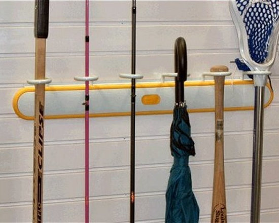 GarageTek Stick Rack - The GT2000 Stick Rack holds many different sports sticks and supplies in one place for fast, easy access.  There is a top holder capable of holding up to six sticks or even umbrellas whilst the bottom shelf can be used for smaller items.