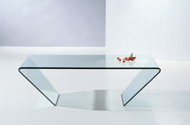 Modern Clear Bent Glass Rectangular Coffee Table Mattoni Modern Coffee Tables San
