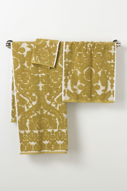 Perpetual Blooms Towels, Gold contemporary-towels