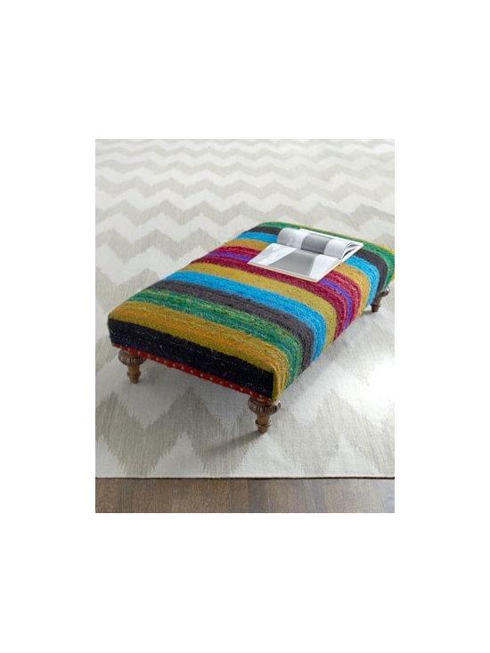 """Tara"" Ottoman by Vanguard - The bright, multicolored stripes of a recycled silk rug make an intriguing and gorgeous upholstery for this charming ottoman."