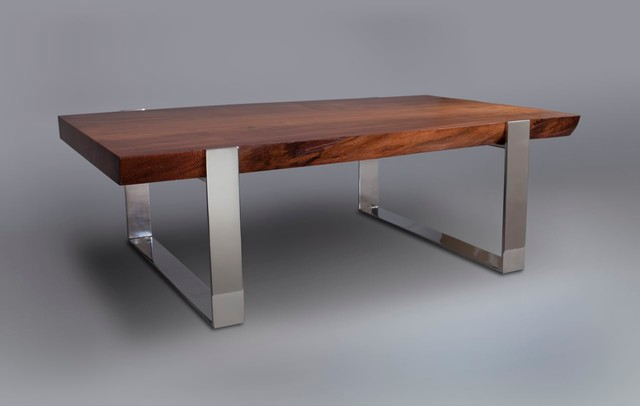 Live-Edge Slab Wood Table with Mirror Polished Stainless Steel Support ...