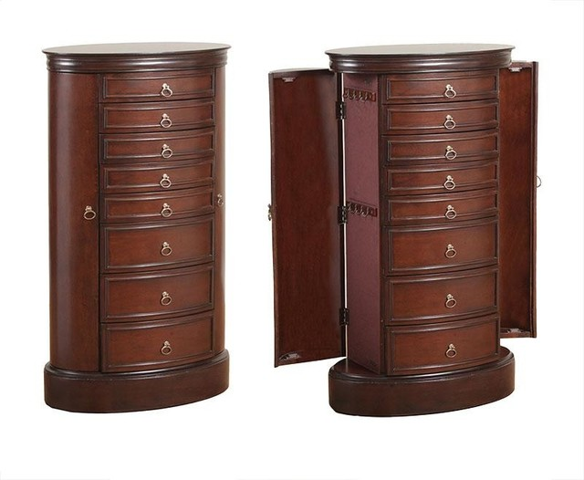 Dark Kona Brown Oval Jewelry Armoire with 7-Drawer 2 Side Door Flip-Top Mirror - Traditional ...