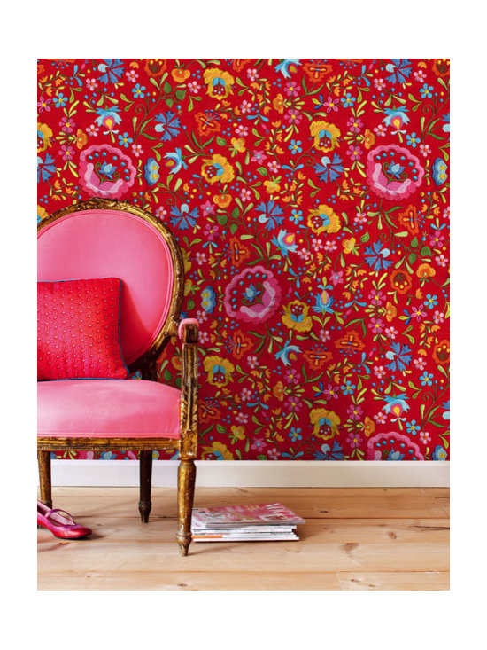 Floral Wallpaper - A gorgeous red wallpaper full of vintage style flowers by Eijffinger available from Brewster Home Fashions