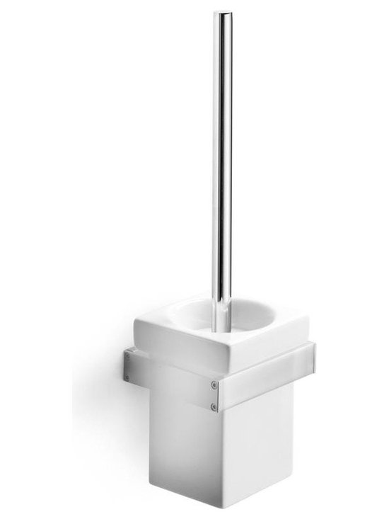 WS Bath Collections - Skuara Toilet Brush Holder in Ceramic wout Br - Free Standing or Wall-mount. Made by Lineabeta of Italy. Product Material: Chromed Brass/ Ceramic White. Finish/Color: White. Dimensions: 3.9 in. W x 3.9 in. L x 15.6 in. H