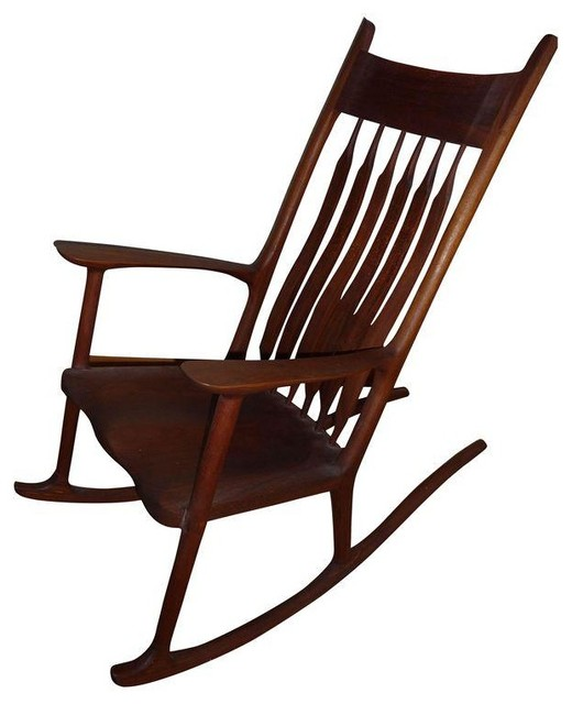 Sam Maloof Inspired Walnut Rocking Chair Modern Rocking Chairs By Chairish