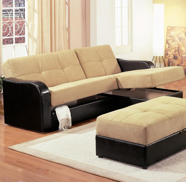 Kuser contemporary chaise sofa sleeper sectional with for Sectional sleeper sofa with storage and pillows