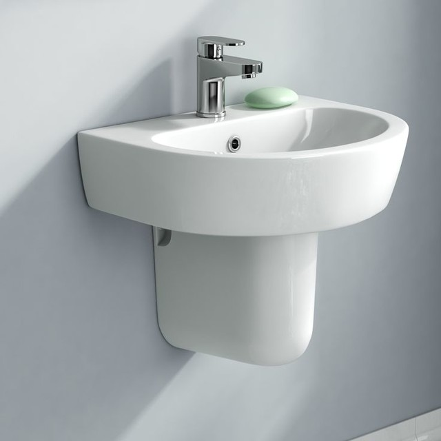 Lyon Wall Mounted Semi-Pedestal Basin - Contemporary - Bathroom Sinks ...