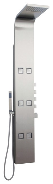 Astral Shower Panel Tower System With Fixed Head Waterblade Function 6 Jets contemporary-showers