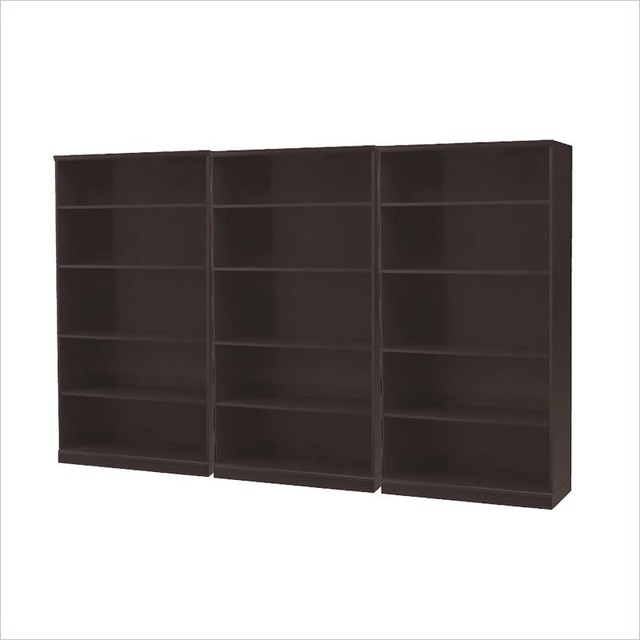 Mayline Sorrento 5 Shelf Wall Bookcase in Espresso transitional-bookcases-cabinets-and-computer-armoires