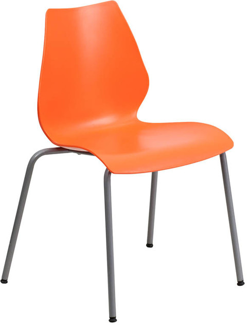Hercules Orange Chair With Lumbar Support And Silver Frame Contemporary C
