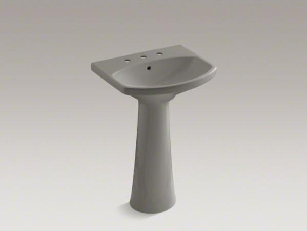 """KOHLER Cimarron(R) pedestal bathroom sink with 8"""" widespread faucet holes contemporary-bathroom-sinks"""