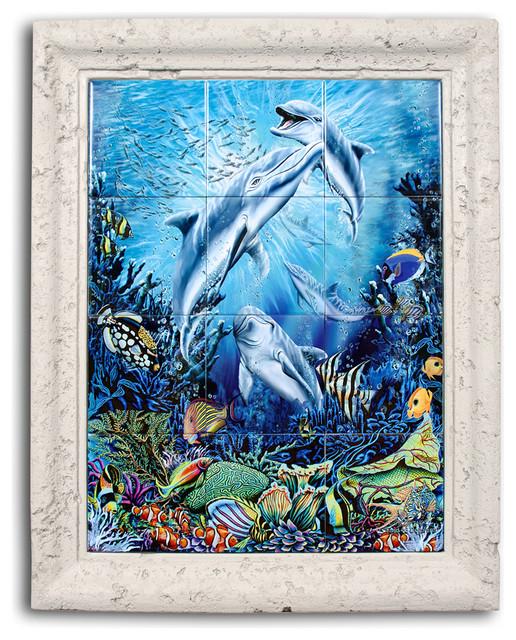 Dolphin find framed ceramic tile mural tropical for Dolphin tile mural