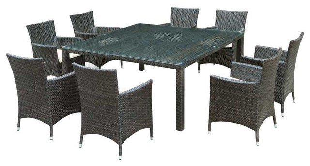 Channels 9 Piece Outoor Dining Set in Brown White modern-dining-sets