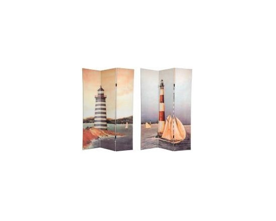 Functional Art/Photography Printed on a 6ft Folding Screen - painting of a lighthouse and coastal scene on a 6ft folding panel room divider screen
