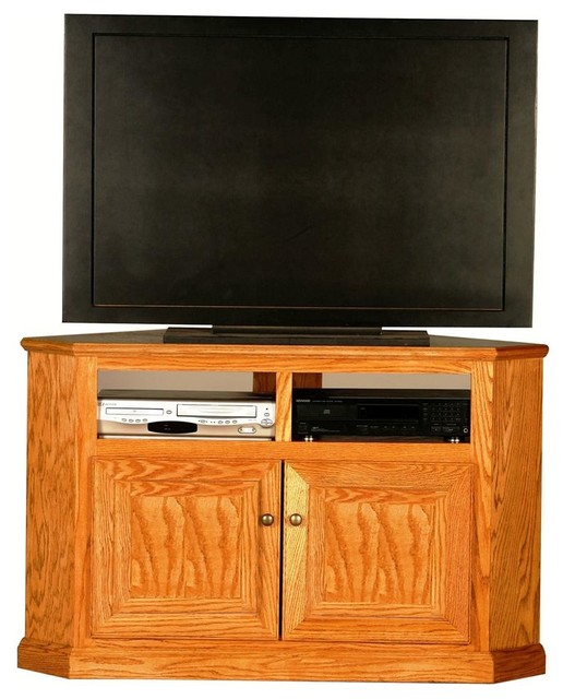 Classic Oak Tall Corner TV Stand w Panel Doors (Light Oak) contemporary-entertainment-centers ...