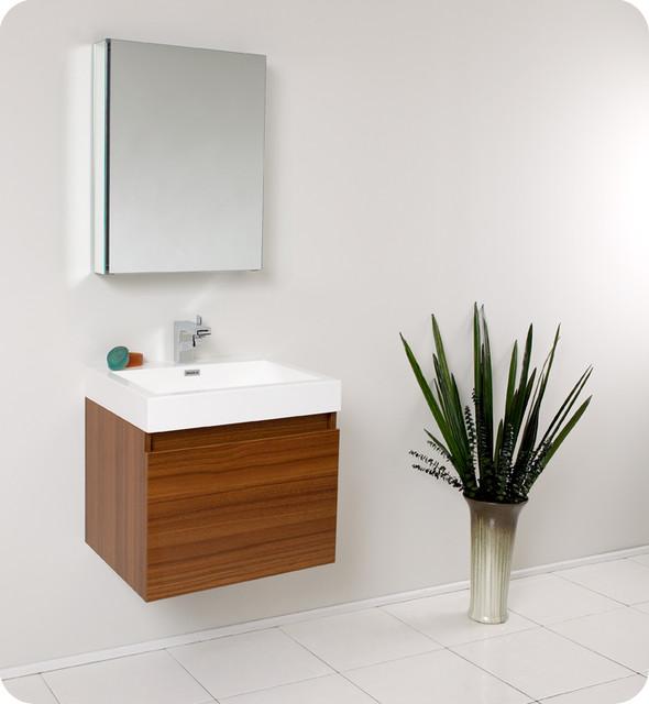 "Fresca Nano 24"" Teak Single Sink Vanity Set w/ Medicine Cabinet modern-bathroom-vanities-and-sink-consoles"