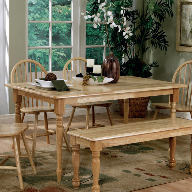Butcher Block Kitchen Tables And Chairs: Natural Butcher Block Farm Table With Turned Legs