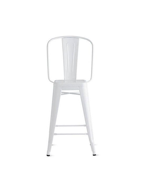 Tolix Marais Counter Stool with High Back, White -