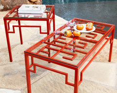 Red Fretwork End Table traditional-side-tables-and-accent-tables