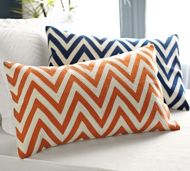 Chevron Embroidered Lumbar Pillow Cover, Orange - Contemporary - Decorative Pillows - sacramento ...