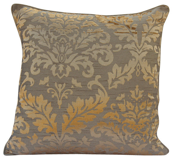 Golden Damask Gold Velvet Throw Pillow Cover, 22x22 - Contemporary - Decorative Pillows - by The ...