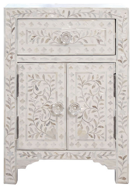 Mother Of Pearl Small Cabinet Nightstand White