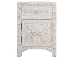 Mother-of-Pearl Small Cabinet/Nightstand, White traditional-nightstands-and-bedside-tables