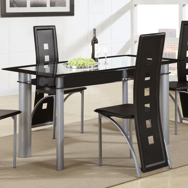Bobkona rectangular glass top dining table contemporary for Rectangular glass dining table