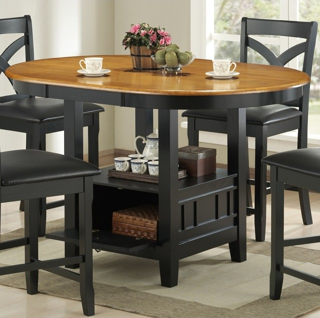 Transitional Kirwin Collection Oval Storage Counter Height Dining Table contemporary dining tables