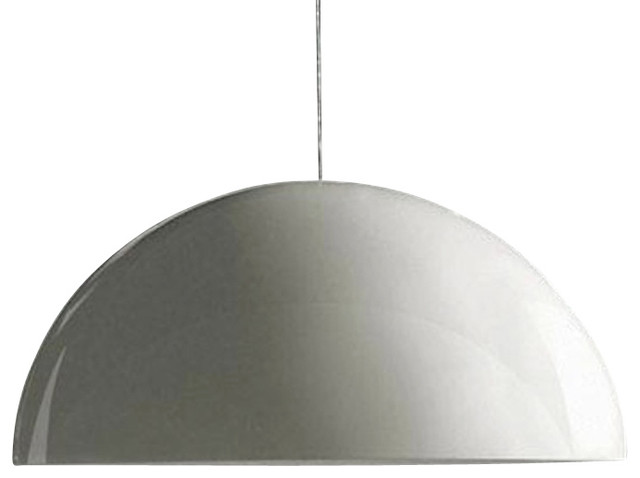 Oluce - Sonora 493 Suspension Lamp, Painted White Reflector contemporary-pendant-lighting