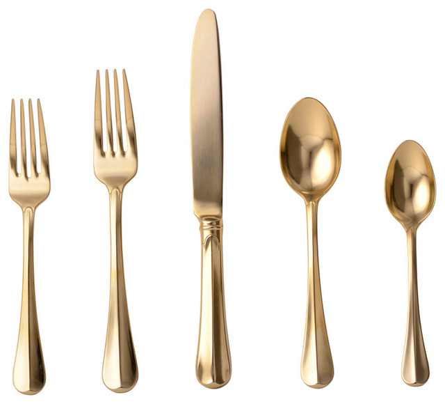 Bistro Gold 5 Piece Silverware Setting Traditional