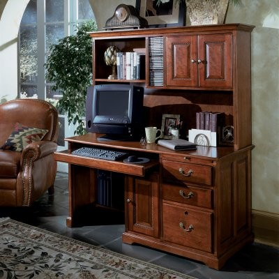 Riverside 58 Inch Desk and Hutch in Meridian Cherry - modern ...