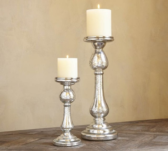 Kingsley etched mercury glass pillar holders traditional for Christmas pillar candle holders