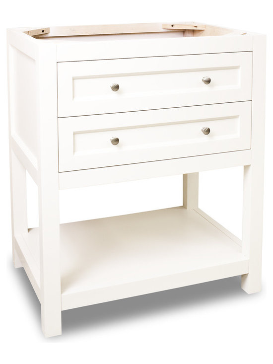 """Hardware Resources - Lyn Design Bathroom Vanity - This 29-1/2"""" wide solid wood vanity features clean lines with a stepped drawer profile for a modern look. The Cream White finish is soft to complement most decor, yet bold enough to make a statement. Two fully working drawers, fitted around the plumbing, and open bottom shelf gives this vanity ample storage. Drawers are solid wood dovetailed drawer boxes fitted with full extension soft close slides. Overall Measurements: 29-1/2"""" x 21-3/4"""" x 35"""" (measurements taken from the widest point)"""
