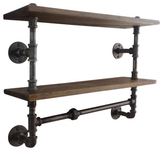 Industrial Pipe Double Shelf Industrial Display And Wall Shelves