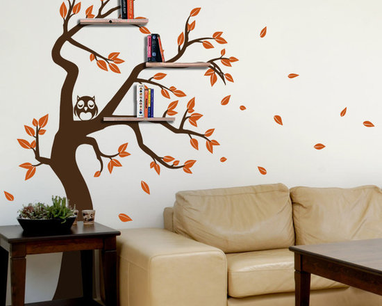 Shelving Tree Decal with Owl and Falling Leaves - Original design © 2012 Wall Definition.