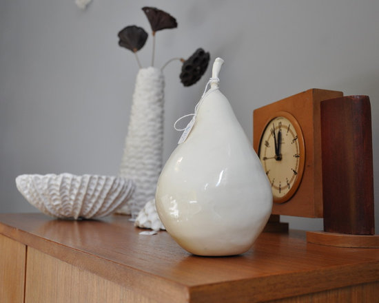 Element Clay Studio Photos - Heather's artwork is displayed with and on a variety of vintage finds.