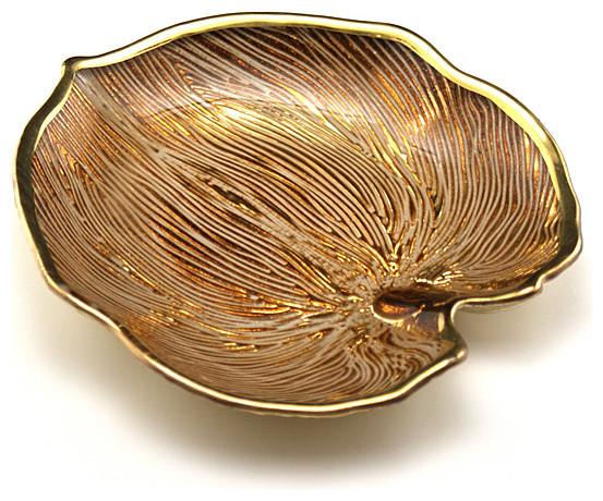 Arda Glassware Palm Beige/Silver Plated Leaf Plates, Small contemporary-serveware