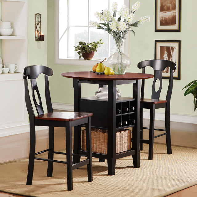 Tribecca home rwanda two tone napoleon 3 piece bistro kitchen set contemporary indoor pub Small dining sets for small space style