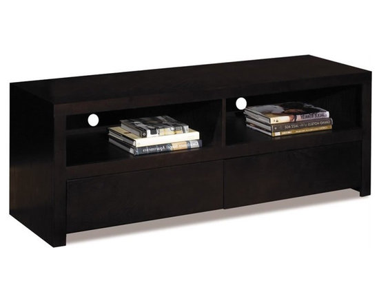 Ave Six Main Street Multimedia TV Console in Espresso - Avenue Six lets you find all the home furnishings to forge ahead with your sense of style and surround yourself with the things you love. The Main Street collection from Avenue Six brings modern style to the masses. The sleek Main Street entertainment console features two open cubbies and two pull out drawers for plenty of storage. The modern look is sure to update or accent any room in your home. Once assembled, Avenue Six furniture becomes indistinguishable from assembled, high end brands. The Main street collection from Avenue six has it all: form and function combined with an incredibly stylish exterior.