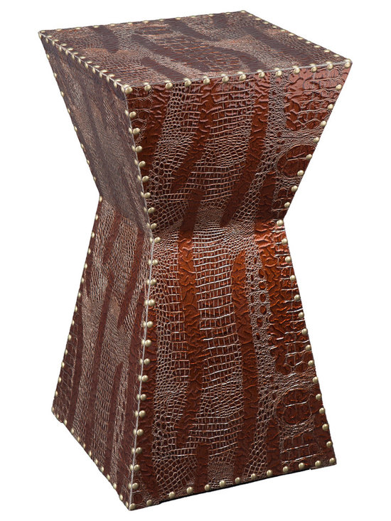 Holly & Martin - Rochester Faux Leather Accent Table - Bring out your inner animal without scaring guests away with this studded, alligator-patterned faux leather side table. Don't worry, it won't bite.