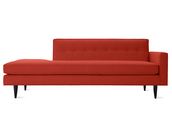 Bantam Studio Sofa, Right | Design Within Reach - Highlight a love of clean lines with a bright pop of crimson red. The one-arm styling adds to the midcentury modern vibe, keeping seating arrangements open and inviting.