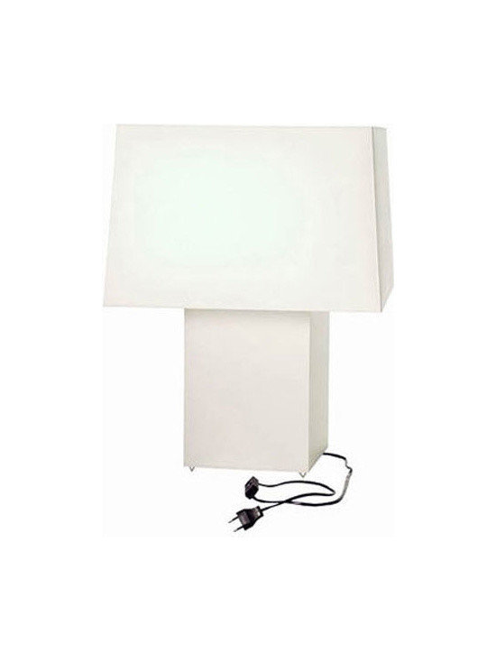 Moooi - Double Square Table Lamp - Double Square table features pvc/viscose laminate on a metal frame. Available in black or white. Both the shade and body diffuse light. One 60 watt 120 volt A19 type medium base incandescent bulb is required, but not included. Includes 8.2 foot cable with 2 pin plug. On-off switch. General light distribution. UL listed. 19.7 inch width x 19.7 inch depth x 26 inch height.