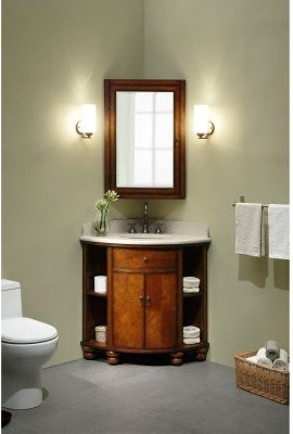 Corner Sink Bathroom Cabinet : Carlton Corner Single Bathroom Vanity with Optional Medicine Cabinet ...