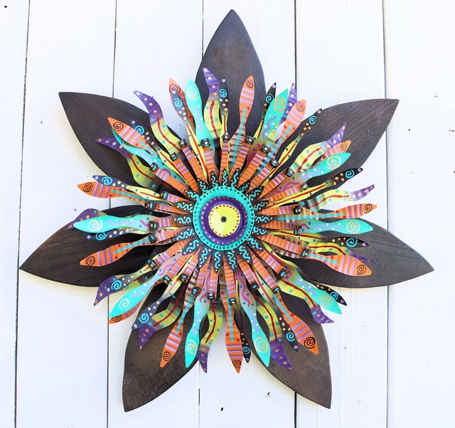 Wall Decorations Boho : Boho chic wood flower wall art mardi gras bohemian decor